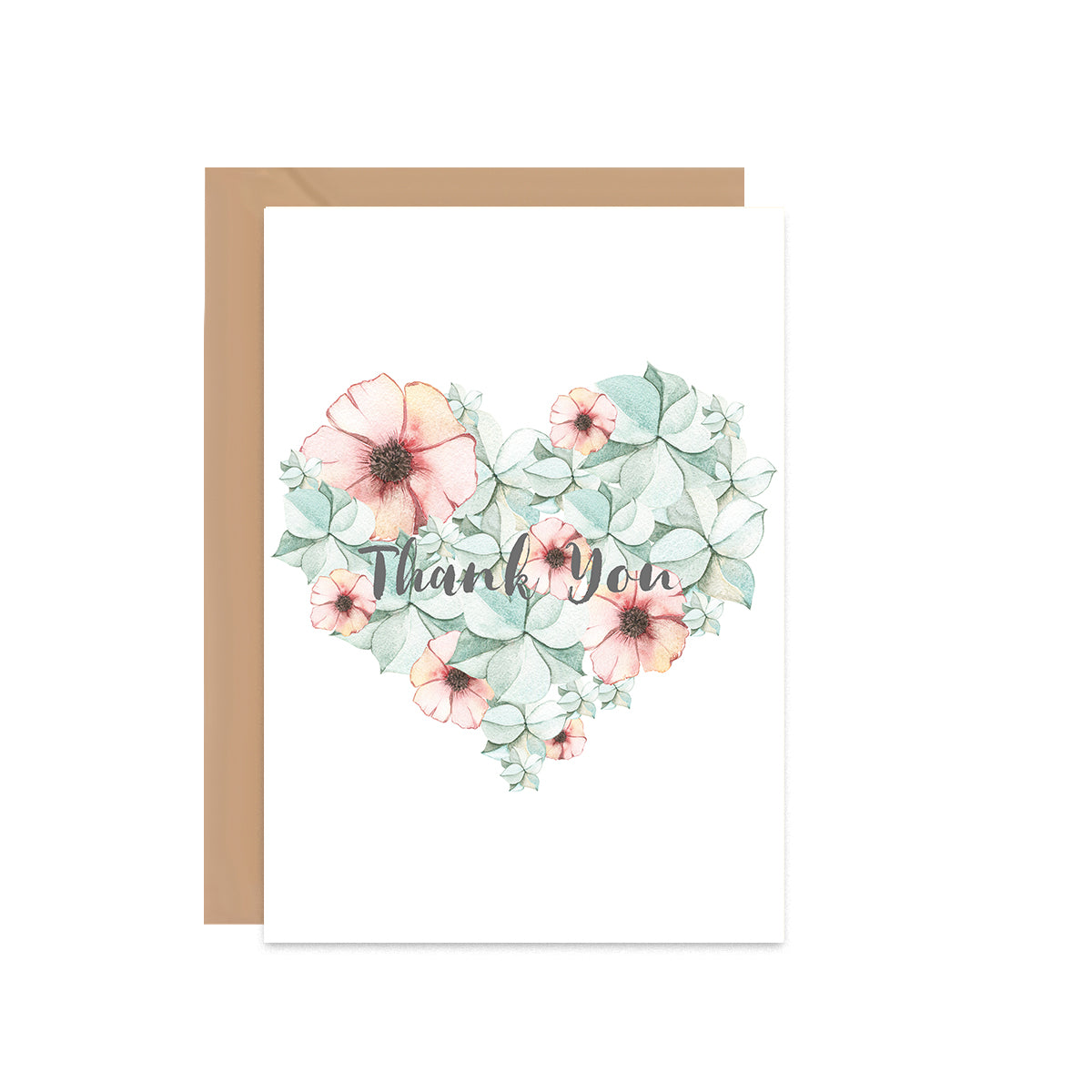 Thank You Heart Floral Card-Greeting Cards-Mode Prints