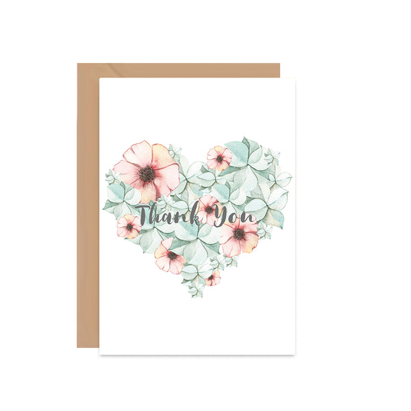 Thank You Heart Floral Card - Mode Prints