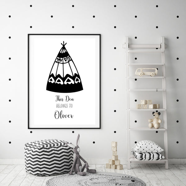 Personalised This Den Belongs To Name Poster Print-Print-Mode Prints
