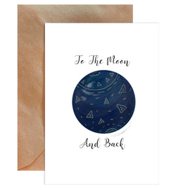 To The Moon And Back Greeting Card - Mode Prints