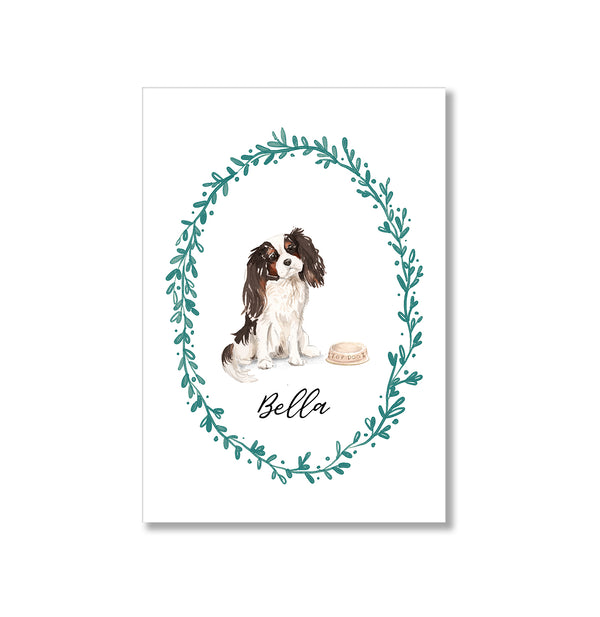 Personalised Tri Colour King Charles Spaniel Dog Art Print - Mode Prints