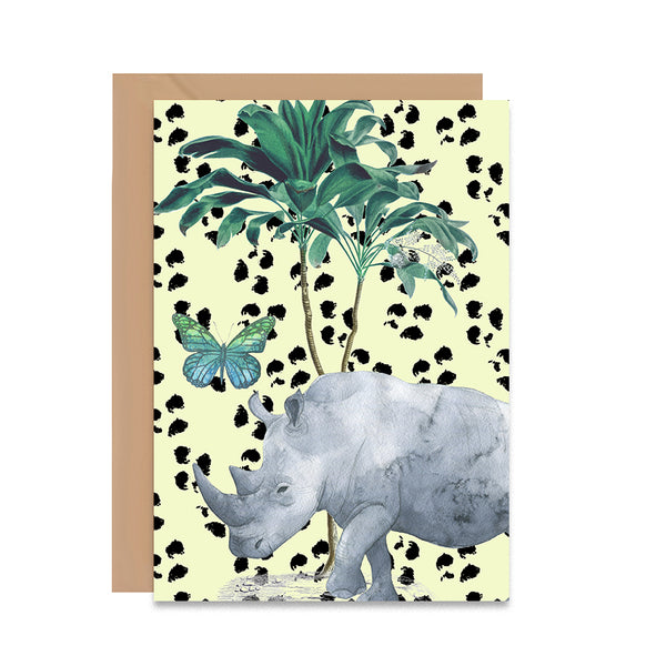 Rhino Tropical Greeting Card