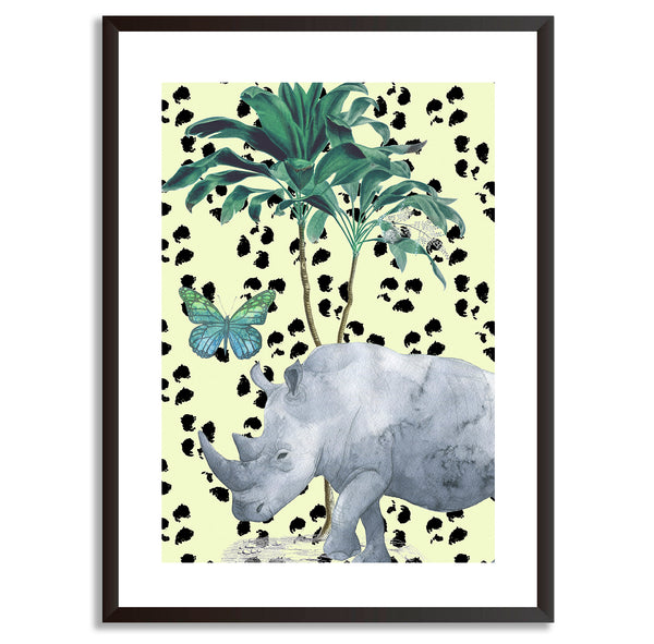 Tropical Jungle Rhino Wall Art Print - Mode Prints