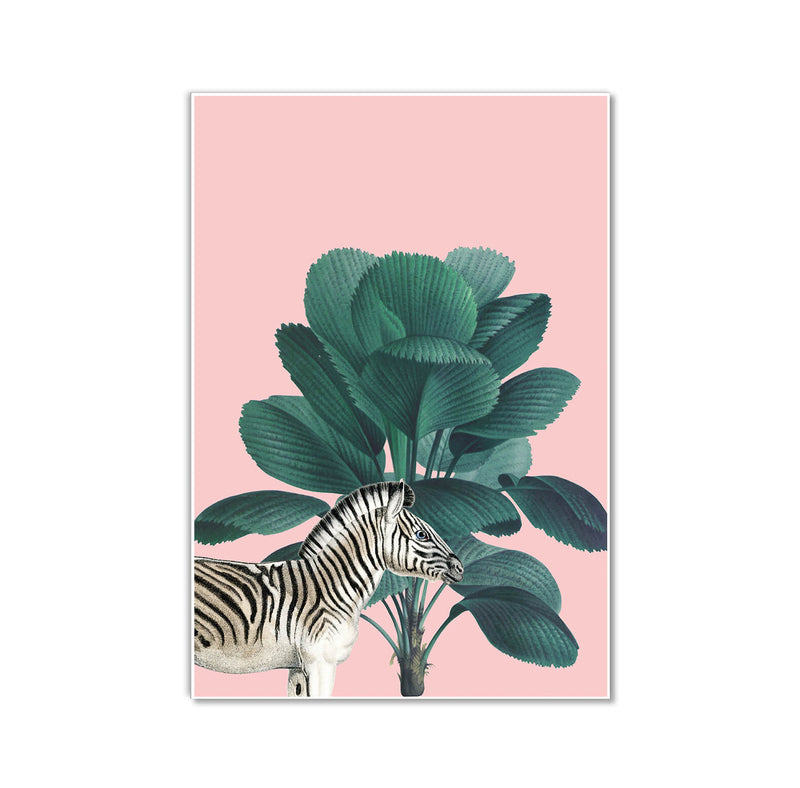 Tropical Jungle Pink Zebra Wall Art Print