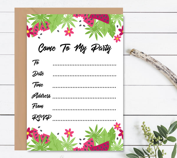 Tropical Watermelon Birthday Invitation Set - Mode Prints