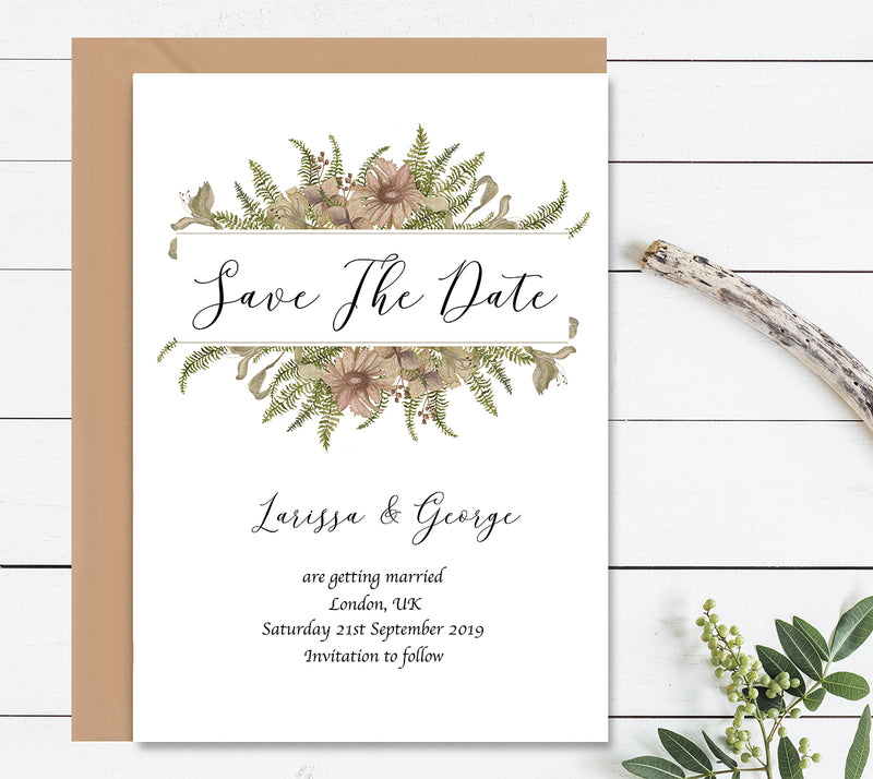 Vintage Flowers 2 Save The Dates Wedding Card - Mode Prints