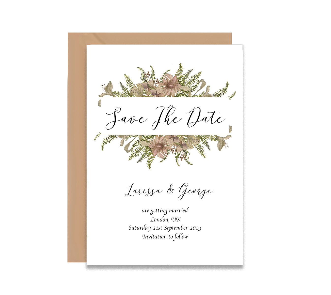 Vintage Flowers 2 Save The Dates Wedding Card-Wedding Stationary-Mode Prints
