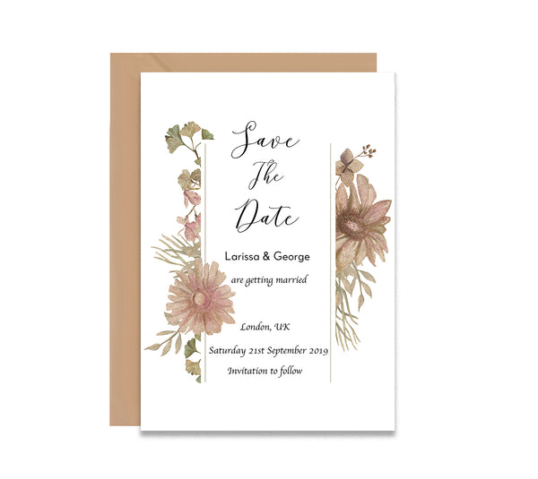 Vintage Flowers 3 Save The Dates Wedding Card - Mode Prints