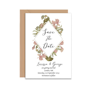 Vintage Flowers Save The Date Wedding Card-Wedding Stationary-Mode Prints