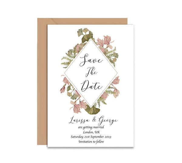 Vintage Flowers Save The Date Wedding Card - Mode Prints