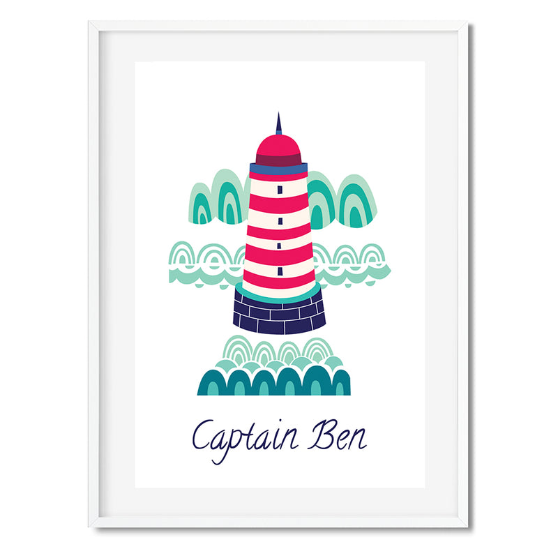 Personalised Lighthouse Coastal Wall Art Print - Mode Prints