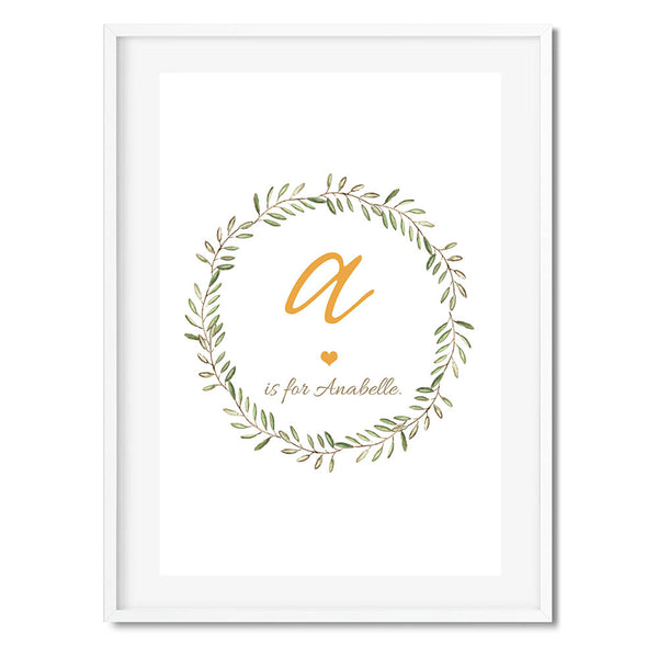 Personalised New Baby Print Wreath Wall Art Print
