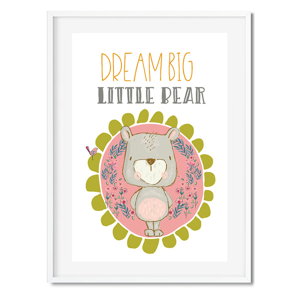 Dream Big Little One Teddy & Bird Wall Art Print