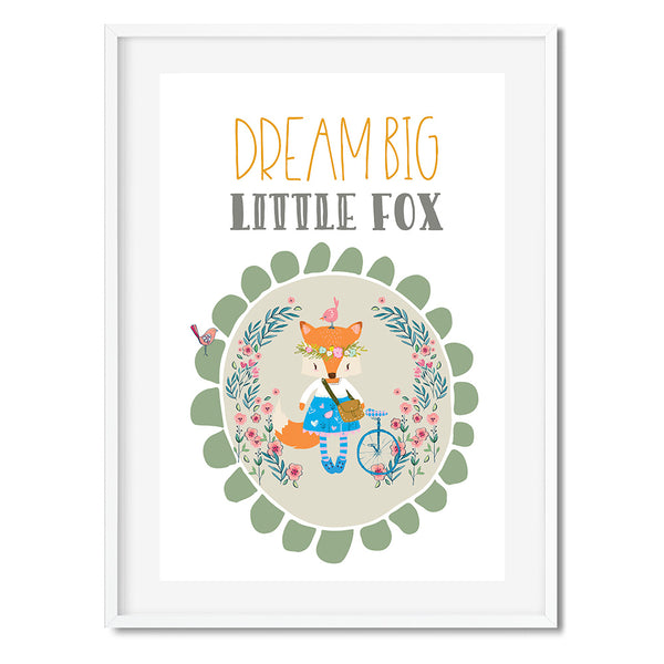Dream Big Little Fox by Mode Prints Sage Green Wall Art Print