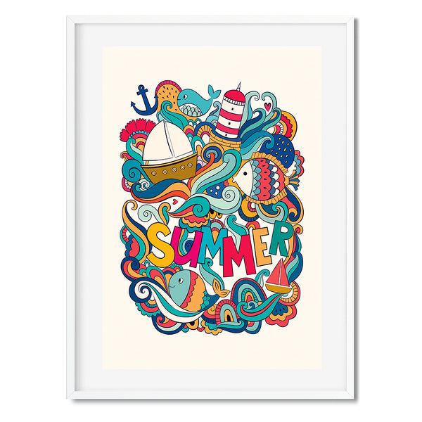 Summer Illustrations Wall Art Print
