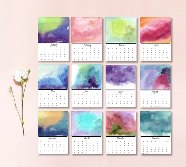 2019 Watercolour Desk Calendar - Mode Prints