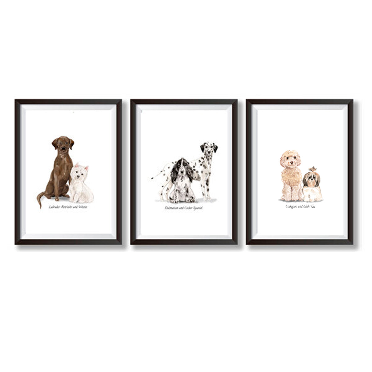 Set Of Three Watercolour Dog Poster Prints