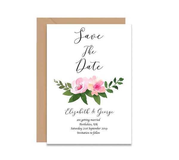 Watercolour Floral Save The Dates Wedding Card - Mode Prints