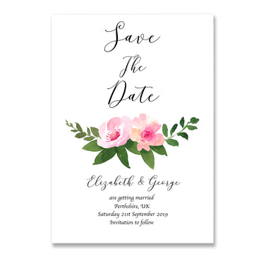 Watercolour Floral Save The Dates Wedding Card-Wedding Stationary-Mode Prints