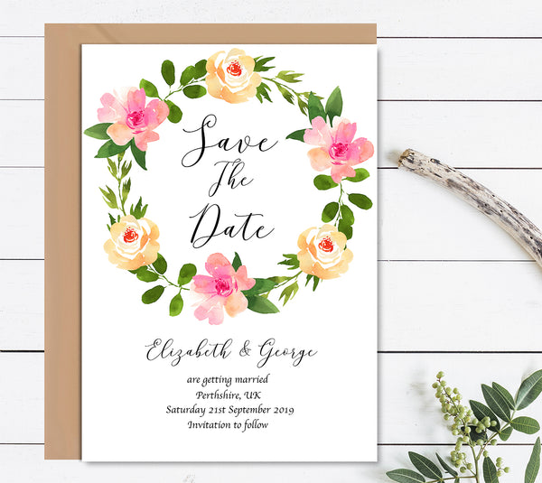 Watercolour Floral Wreath Save The Date Wedding Card - Mode Prints