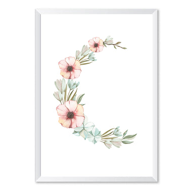 Floral Moon Botanical Poster Print