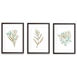 Set Of Three Modern Watercolour Leaf Art Prints - Mode Prints