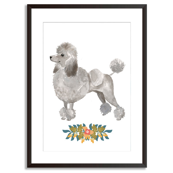 Grey Poodle Watercolour Dog Print - Mode Prints