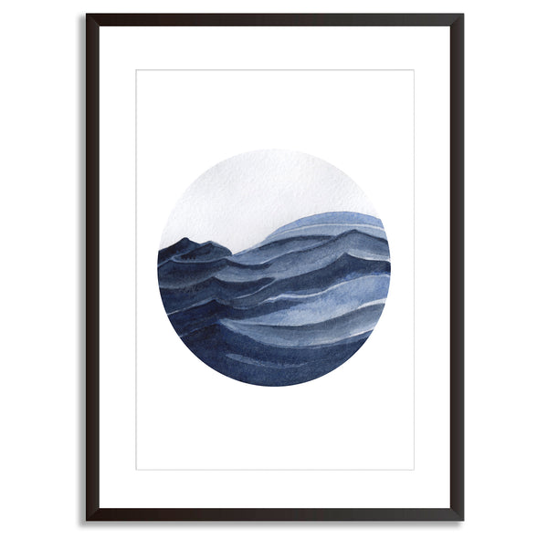 Watercolour Seascape All The Blues Wall Art Print
