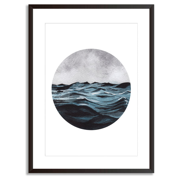 Watercolour Seascape Waves Wall Art Print