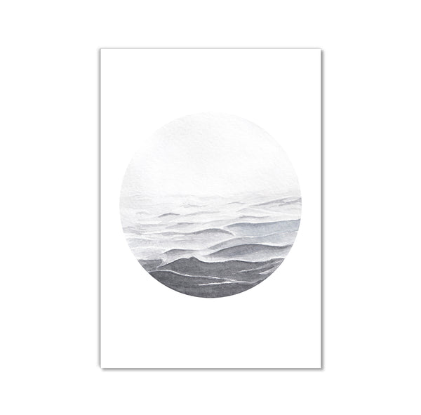 Watercolour Seascape Grey Waters Wall Art Print