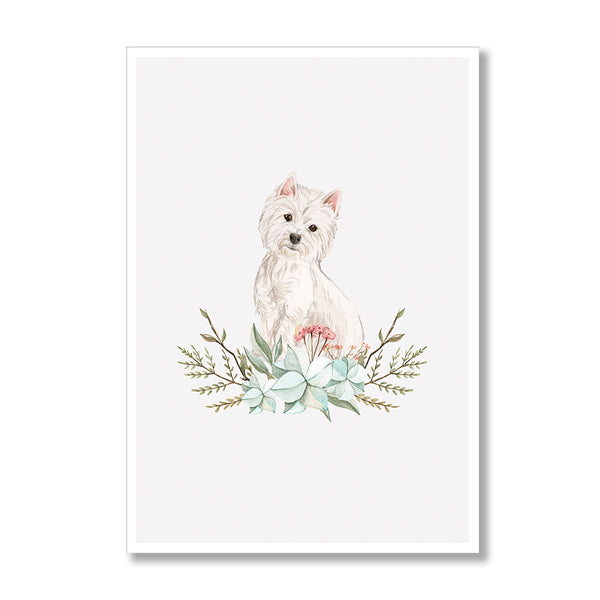 Westie Dog Floral Print-Print-Mode Prints