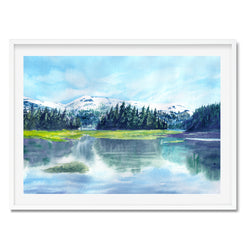 Watercolour River View Landscape Wall Art Print