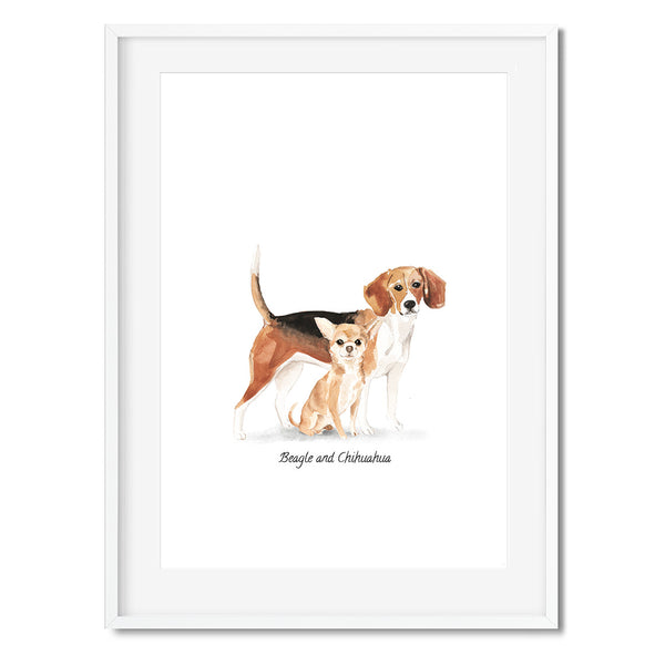 Beagle & Chihuahua Dog Wall Art Print - Mode Prints