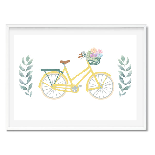 Watercolour Yellow Bicycle Wall Art Print