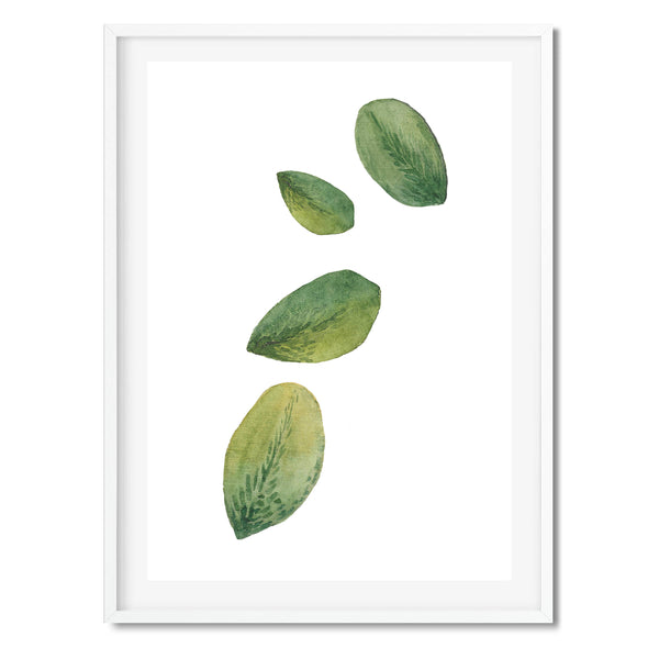 Watercolour Leaves In Air Wall Art Print