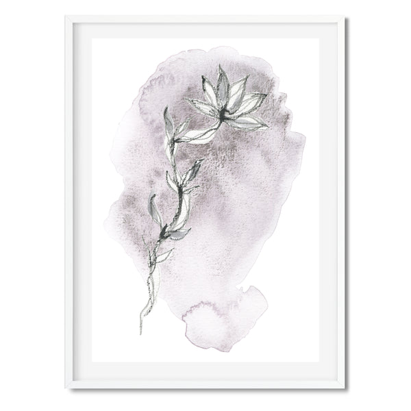 Watercolour Purple Abstract Leaf 3 Wall Art Print