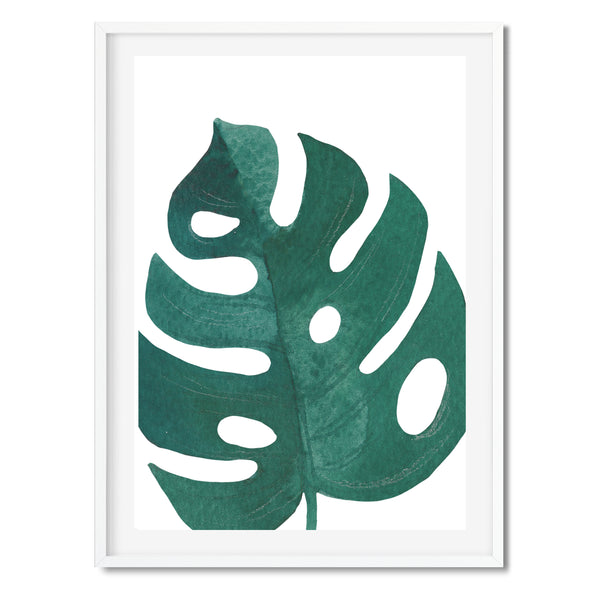 Watercolour Green Monstera Palm Wall Art Print