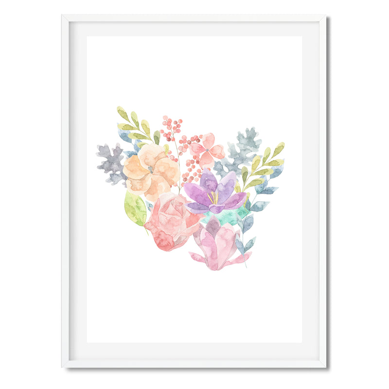 Watercolour Floral Bouquet Wall Art Print - Mode Prints