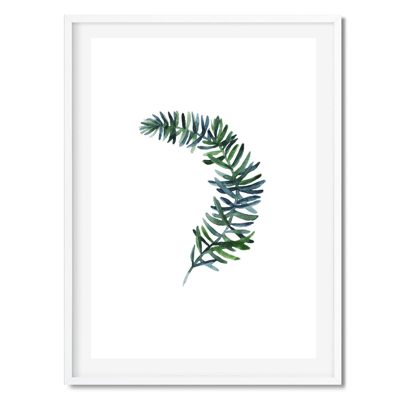 Watercolour Botanical Green Leaf Wall Art Print - Mode Prints