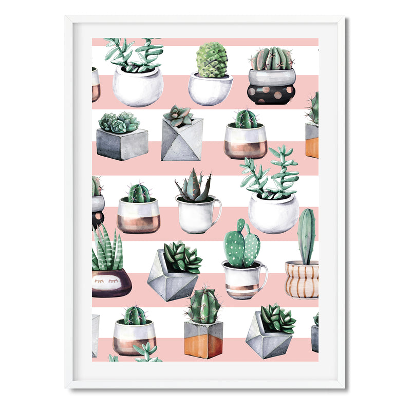 Watercolour Cacti Plants Wall Art Print