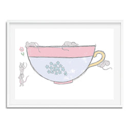 Mice In Tea Cup Wall Art Print - Mode Prints