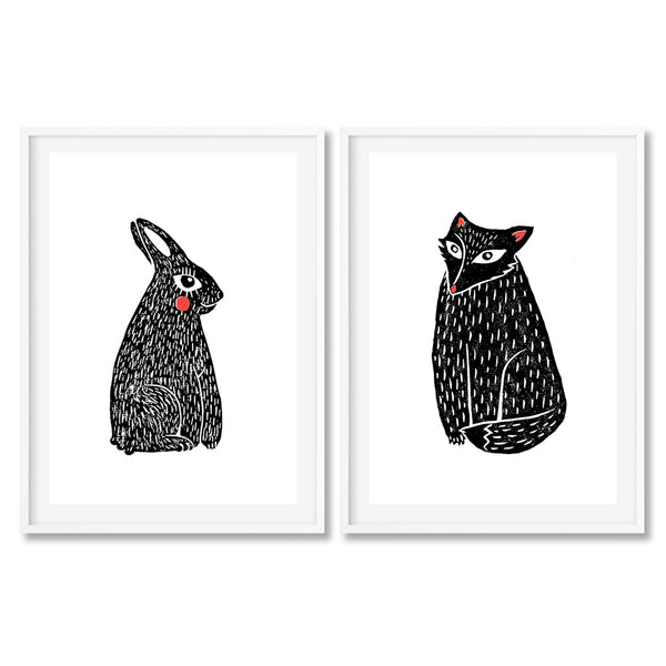 Set Of Two Linocut Animal Prints