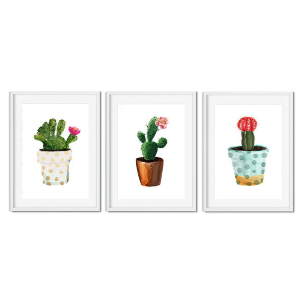 Set Of Three Watercolour Cacti Plant Prints - Mode Prints