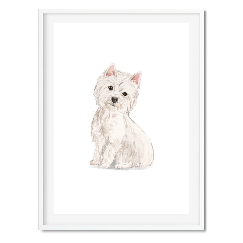 Westie Watercolour Dog Wall Art Print