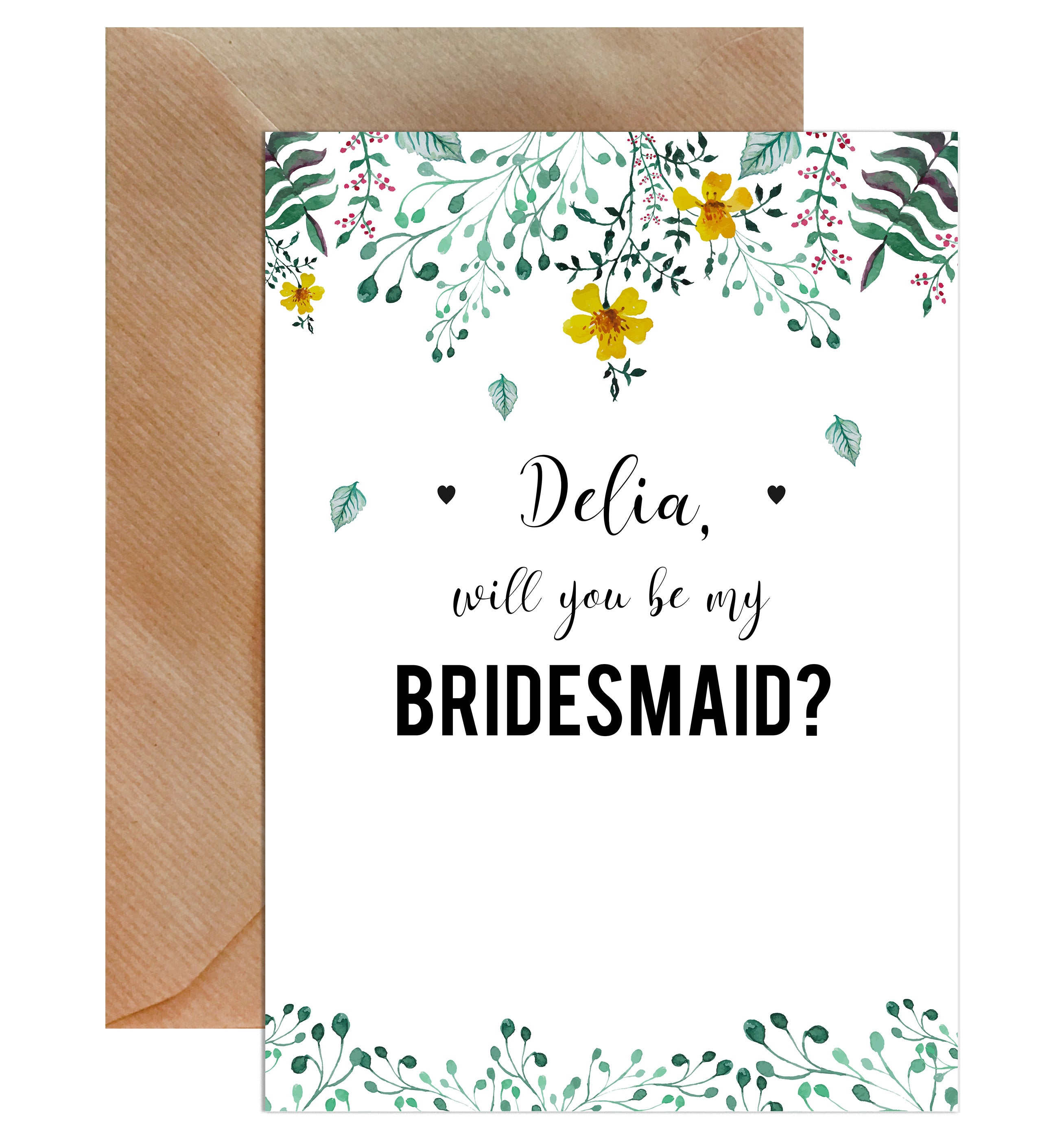 personalised will you be my bridesmaid greeting card mode prints