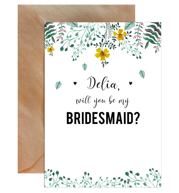 Personalised Will You Be My Bridesmaid Greeting Card - Mode Prints