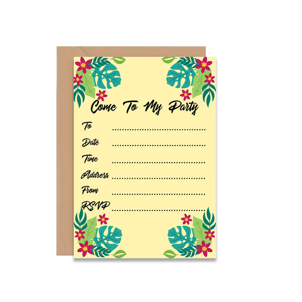 Yellow Tropical Border Birthday Invitation Set