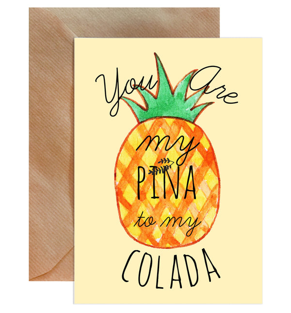 You Are My Pina To My Colada Greeting Card-Greeting Cards-Mode Prints