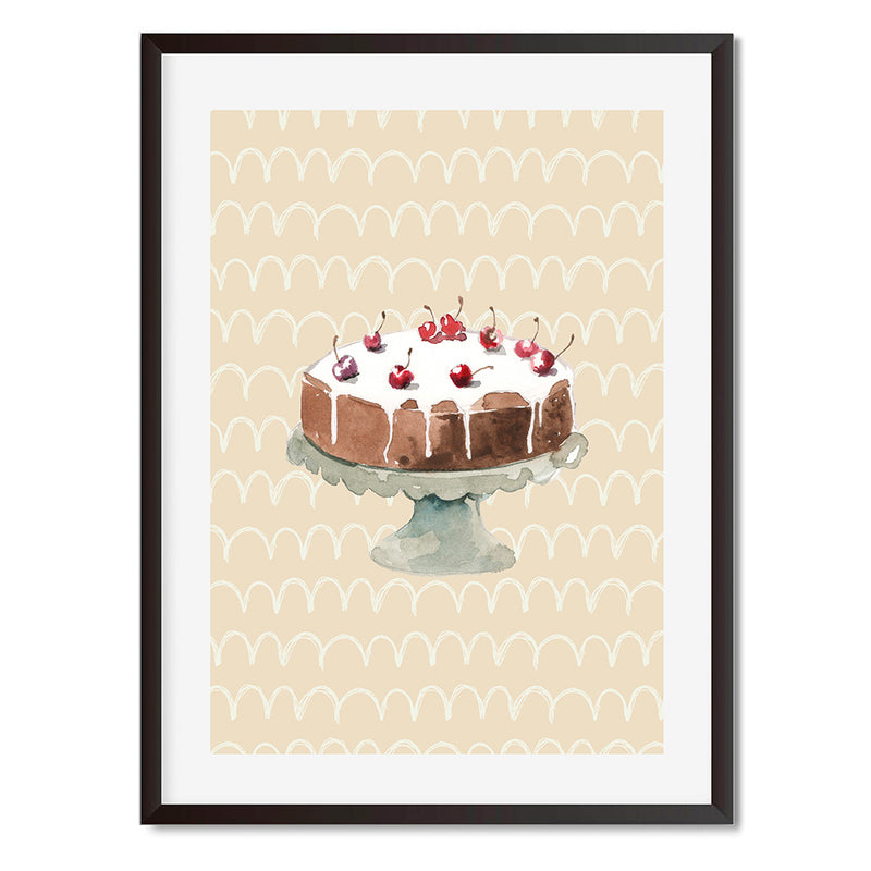 Chocolate Cake With Cherries On Top Wall Art Print - Mode Prints