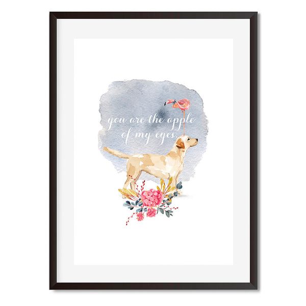 You Are The Apple Of My Eyes Flamingo Dog Wall Art Print